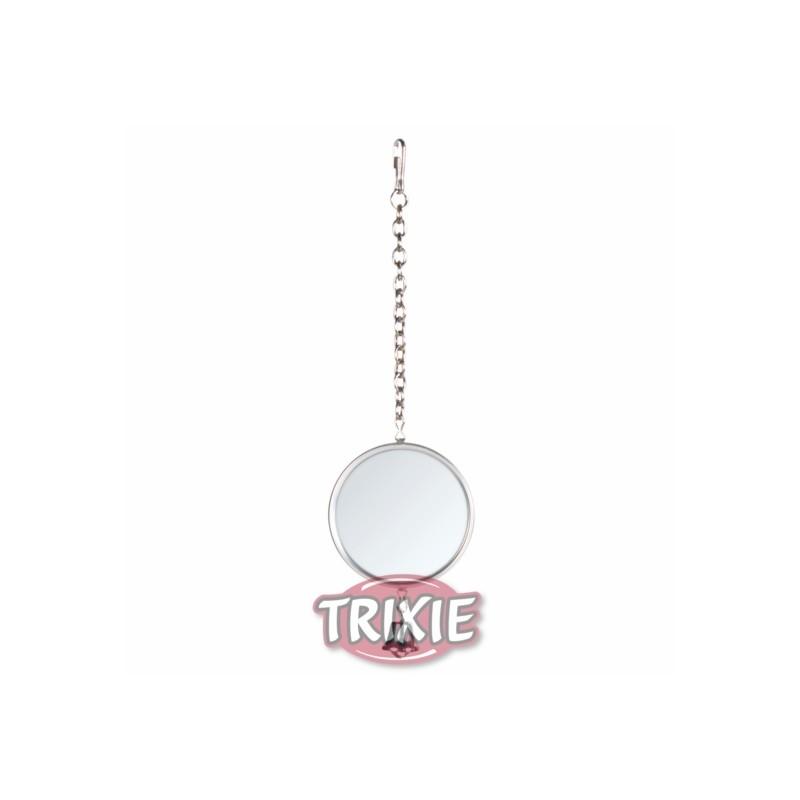 Espejo con marco metalico con cadena y campanilla for Espejos con marco metalico