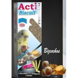 2 Barritas Acti Biscuit de 55 gr cada una Periquito y Exótico