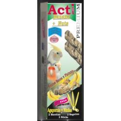 2 Barritas Acti Banana y Nuts de 55 gr cada una Agapornis y Ninfas